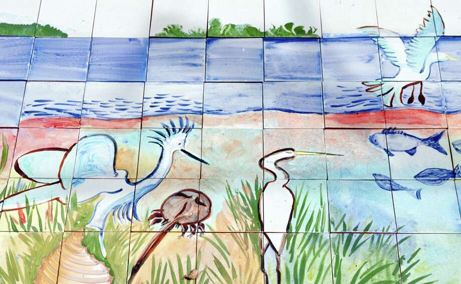 A section of the 100 square foot mural at Calf Pasture Beach in Norwalk on Saturday, July 27, 2013. The tiles for the mural were created by artists Kim Salander and Georgette Wirth, of Wirth Salander Custom Tile. Photo: Amy Mortensen / Connecticut Post Freelance
