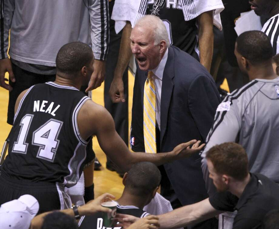 San Antonio Spurs head coach Gregg Popovich yells at Gary Neal during the second half of Game 6 of the NBA Finals at American Airlines Arena on Tuesday, June 18, 2013 in Miami. (Kin Man Hui/San Antonio Express-News) Photo: San Antonio Express-News