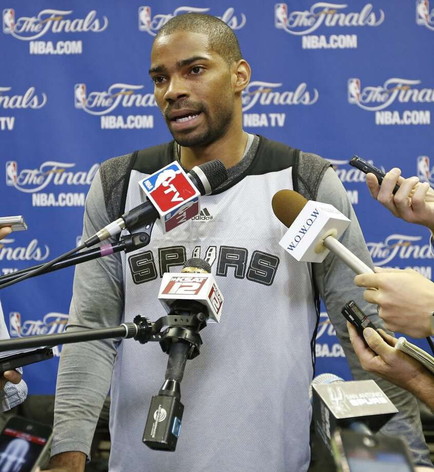 San Antonio Spurs' Gary Neal answers questions from the media during practice Saturday June 15, 2013 at the AT&T Center. Photo: San Antonio Express-News