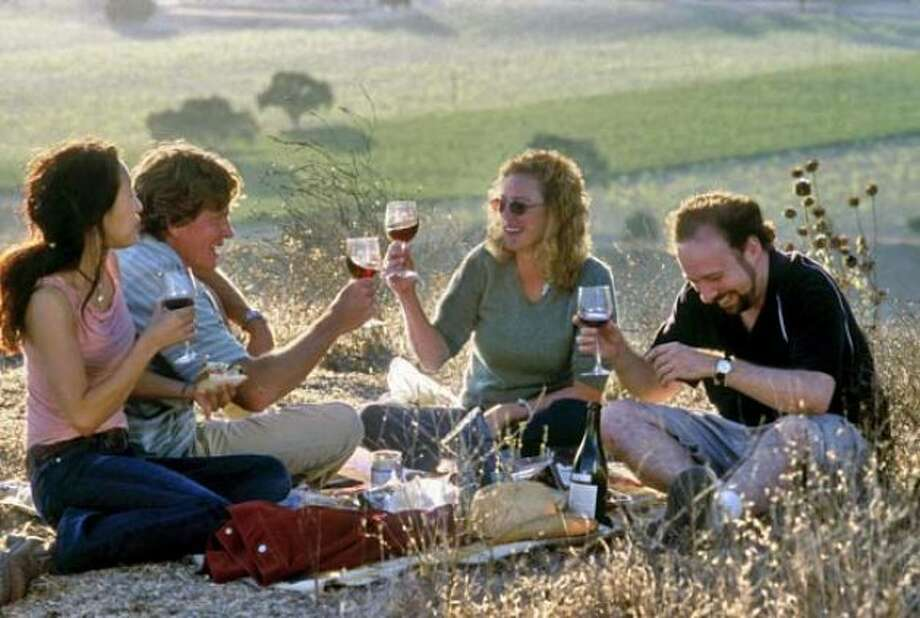 Sideways:It may have maimed Merlot's reputation in favor of Pinot Noir, but Alexander Payne's bittersweet buddy movie  put Santa Barbara County's wine country on the map for many viewers. Photo: Fox Searchlight, 2004