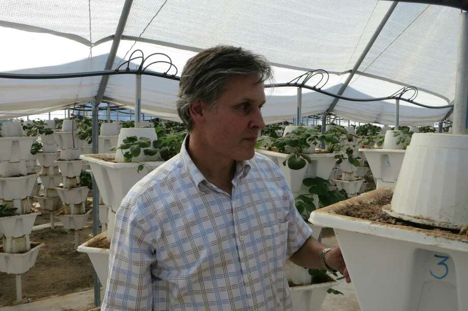 Salem Abraham, 47, runs Abraham Trading Company out of a 1,000-square-foot office in the restored Moody Hotel in downtown Canadian, Texas.  On his 3,000-acre ranch near downtown Canadian, Abraham is experimenting with fruits and vegetables that thrive in the Panhandle. The multimillionaire, whose Lebanese immigrant family has been in Canadian for five generations, has restored buildings, established museums and supported the public schools and the results show. Photo: Joe Holley, Houston Chronicle / Houston Chronicle