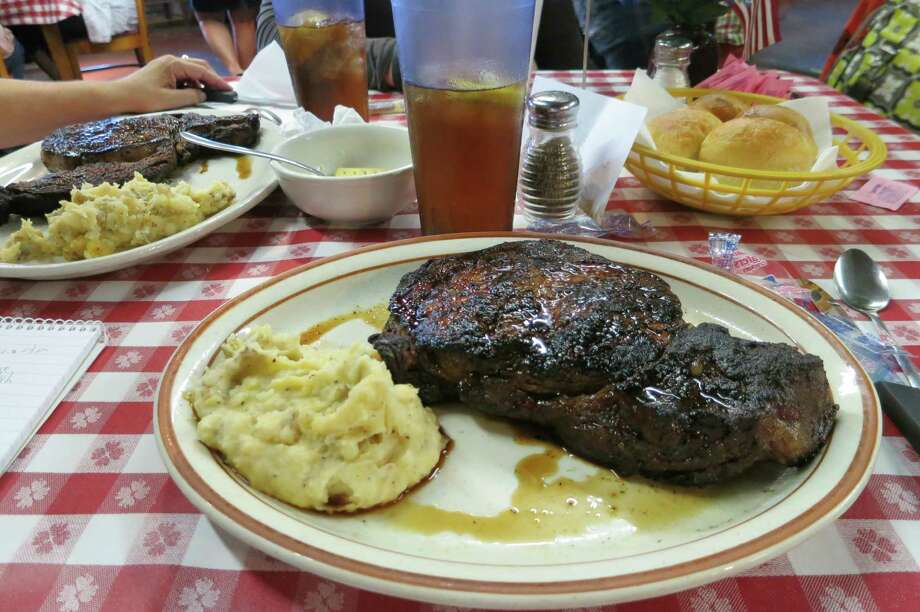 The 10-oz. ribeye, the smallest on the menu, is big enough to share at Leona General Store near Centerville, Texas. Photo: Joe Holley, Houston Chronicle / Houston Chronicle