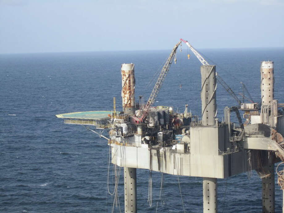 Approval for a relief well to correct a gas leak that caused an explosion at this rig off Louisiana. Photo: HOPD / Bureau of Safety and Environment