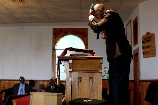 Chief Warrant Officer Christopher Royal preaches at Macedonia Missionary Baptist Church in Goodwater, AL, near his hometown of Eclectic, AL, on Sunday, July 14, 2013. Photo: Lisa Krantz, San Antonio Express-News / San Antonio Express-News