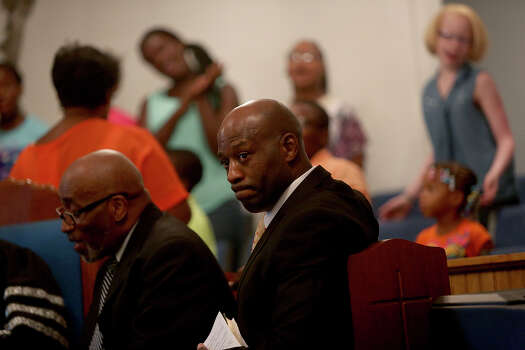 Christopher Royal attends a service at Hatchette Spring Baptist Church before leaving to preach at another church  in Goodwater, AL on Sunday, July 14, 2013. Royal regularly preaches at area churches and gives inspirational talks. Photo: Lisa Krantz, San Antonio Express-News / San Antonio Express-News