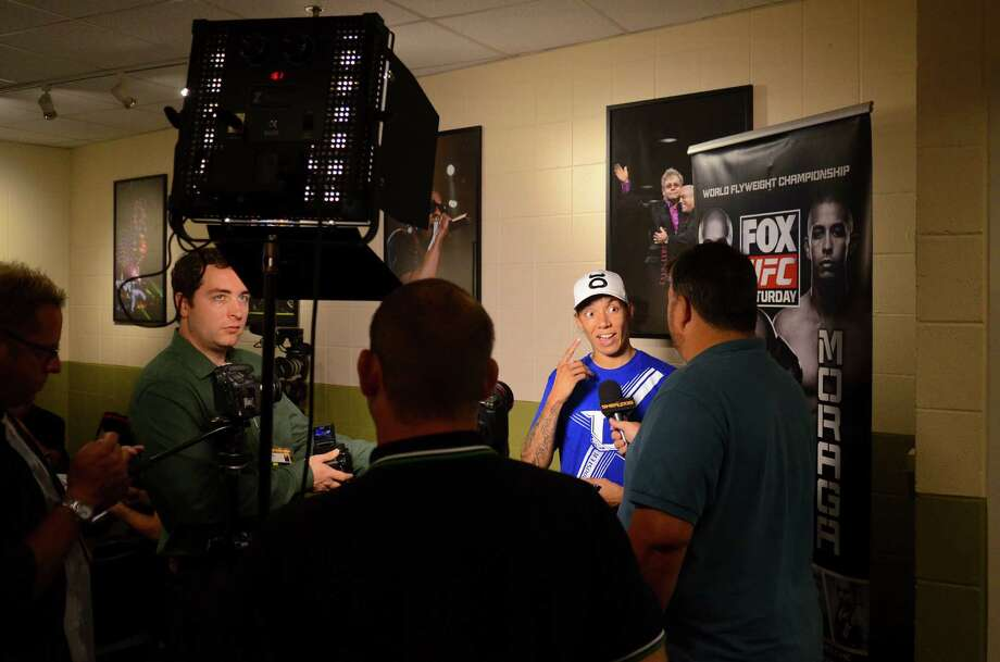 Germaine de Randamie in her post-fight interview Saturday, July 27, 2013, at the KeyArena in Seattle. Randamie won her fight. Photo: SY BEAN, SEATTLEPI.COM / SEATTLEPI.COM