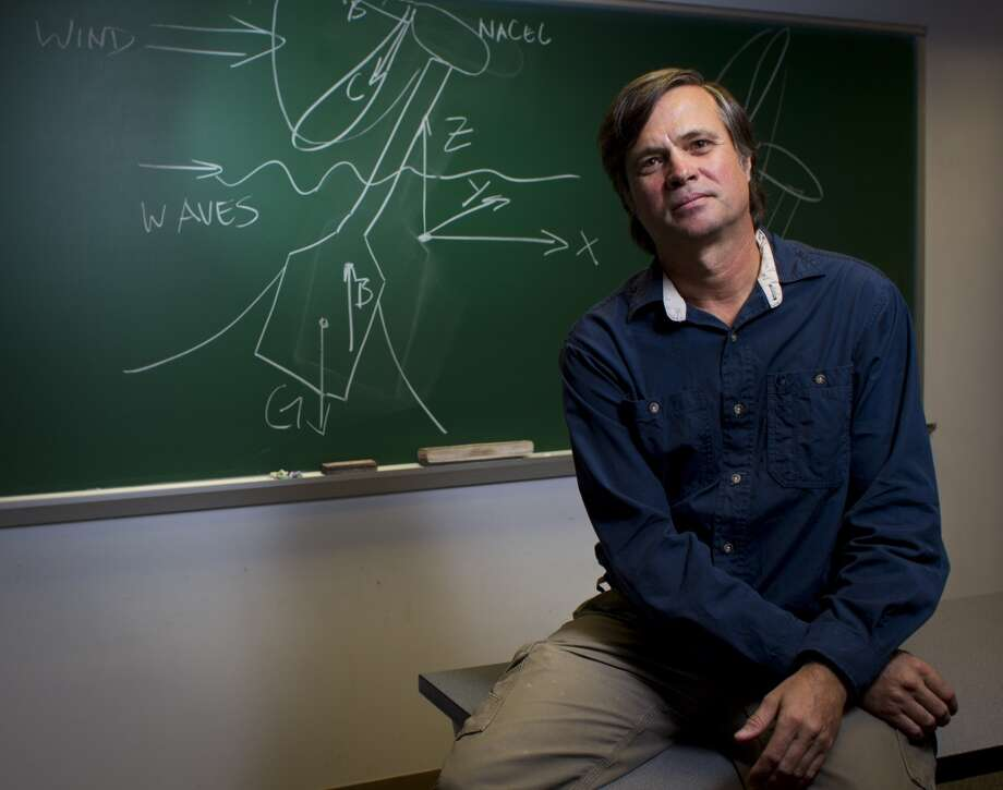 Bert Sweetman, Ph. D., at Texas A&M Galveston in Galveston, is designing wind turbines that could be deployed off shore. Photo: Nick De La Torre, Houston Chronicle