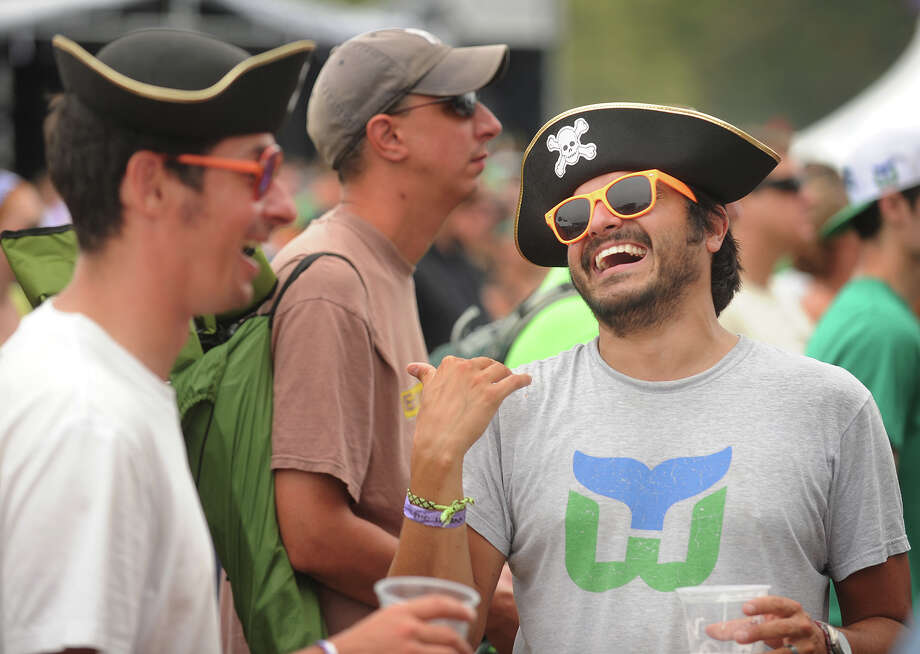 Friends Andy Spanburgh, left, and Eric Jankstrom, both of Brooklyn, NY, wear their pirate hats for the 18th annual Gathering of the Vibes Musical Festival at Seaside Park in Bridgeport, Conn. on Sunday, July 28, 2013. Photo: Brian A. Pounds / Connecticut Post freelance