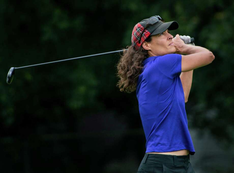 Jen Kaplan drives off the first tee in the 2nd round of the 2013 Stamford Amateur Golf Championship held at Sterling Farms Golf course Stamford, CT on Sunday July 28th, 2013. Photo: Mark Conrad / Stamford Advocate Freelance
