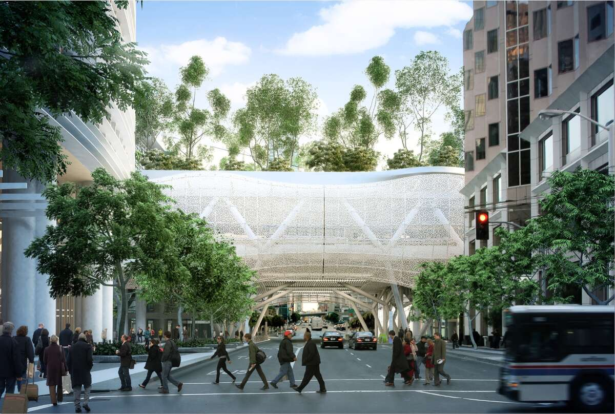The latest version of the metal scrim that will cover the Transbay Transit Center is perforated aluminum with a coat of mica-flecked white epoxy. The design of the panels is based on a geometrical pattern discovered in the 1970s by British mathematical physicist Dr. Roger Penrose