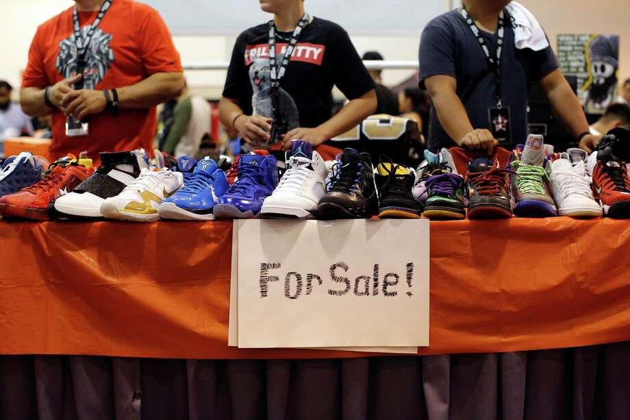 A display of shoes for sale is seen during the 2013 H-Town Sneaker Summit. Photo: © TODD SPOTH PHOTOGRAPHY, LLC / © TODD SPOTH PHOTOGRAPHY, LLC