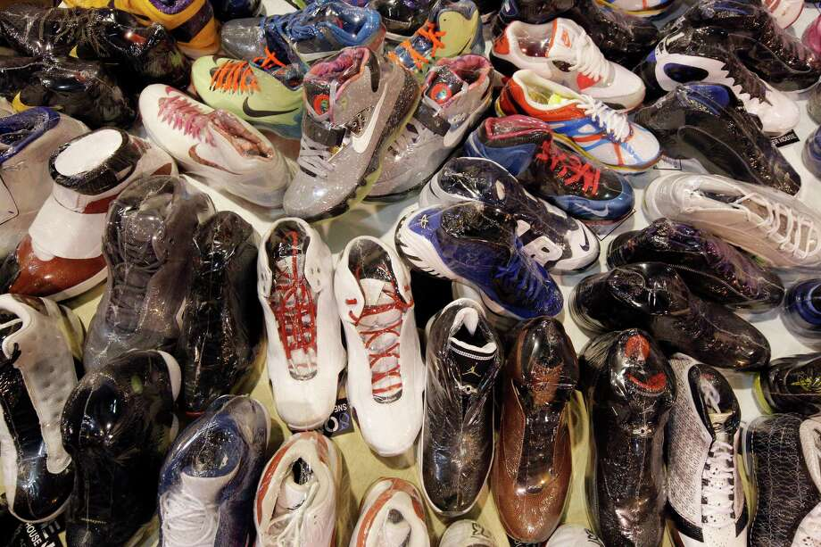 An array of individually shrink wrapped shoes at the 8 One Sneaker House booth. Photo: © TODD SPOTH PHOTOGRAPHY, LLC / © TODD SPOTH PHOTOGRAPHY, LLC