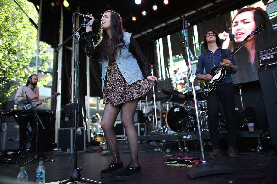 Madeline Follin of Cults perform on the Main Stage during the annual 