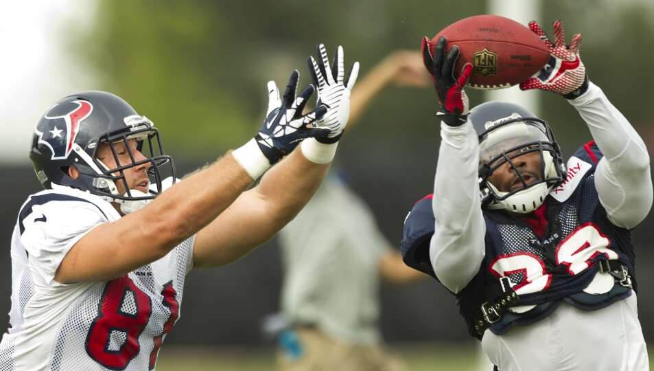 Texans safety Danieal Manning intercepts a pass intended for tight end Owen Daniels.