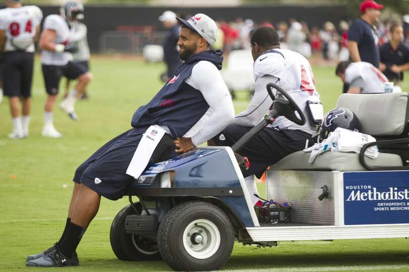 Texans running back Arian Foster looks on during the third day of training camp.