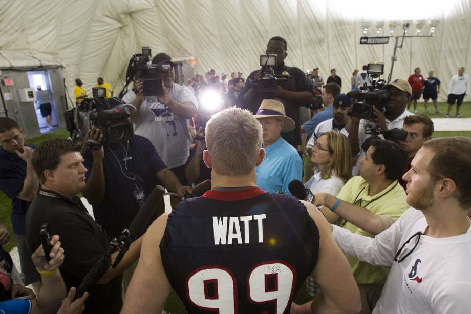 Texans defensive end J.J. Watt speaks with the media Photo: Brett Coomer, Houston Chronicle