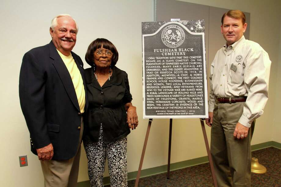 Fulshear mayors attended the historical marker dedication for the Fulshear Black Cemetery. From left are Jamie Roberts, mayor 1977-2010, Viola Randle,  mayor, 1995-1999 and Tommy Kuykendall, mayor 2010-present. Photo: Suzanne Rehak, For The Chronicle