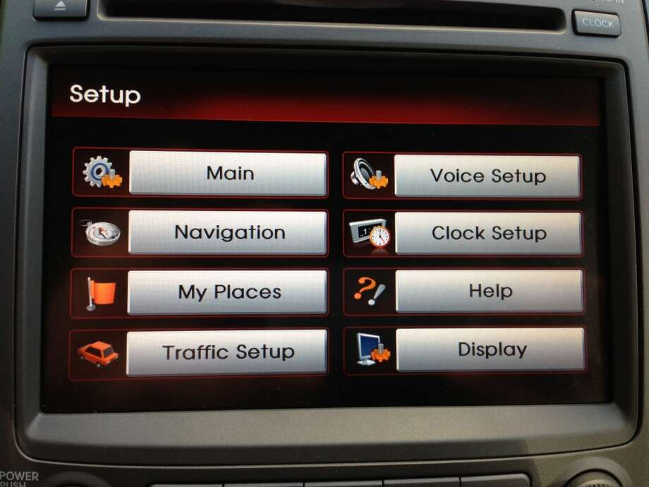 The setup screen for the UVO Infotainment system reminds me of the buttons in Windows 98. Photo: Dwight Silverman, Houston Chronicle