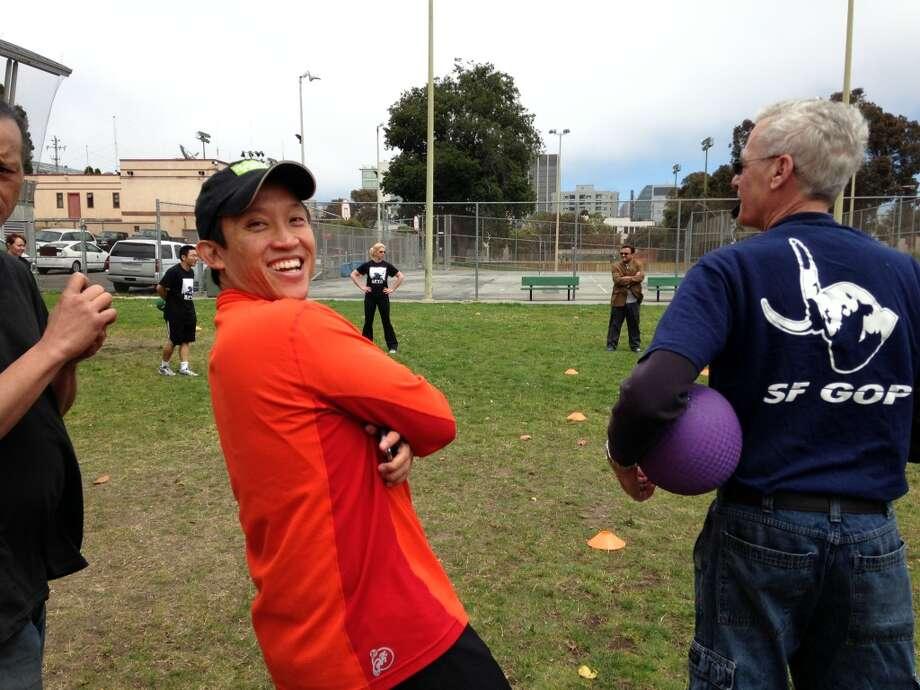 Newly engaged Supervisor David Chiu dressed like a neighborhood emergency response captain.