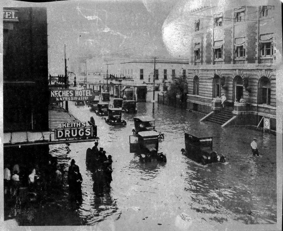 A 1923 photo shows the amount of water that filled up downtown Beaumont in a storm that dumped 13.51 inches of rain in, what the Beaumont Enterprise archives described as, between breakfast and lunch.