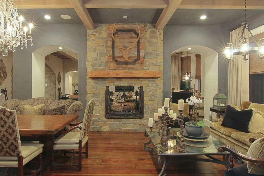 Dining room with two-sided fireplace.