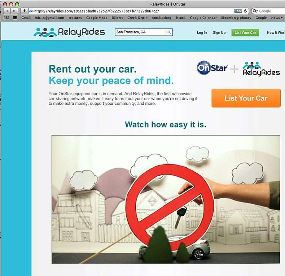 Relayrides new AP will allow GM onstar users to rent their car without lending out the keys or meeting the renter. Photo: Relayrides.com