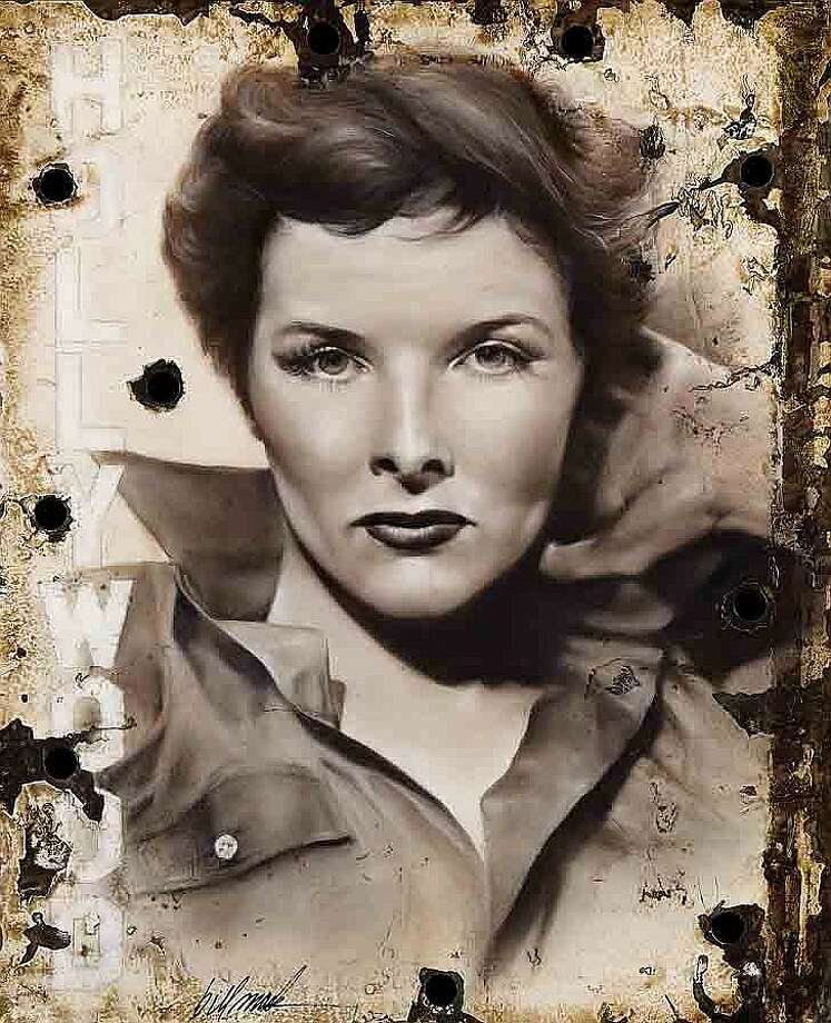 Lot 407: Original Artwork of Katharine Hepburn on a piece of the 1923 Hollywood sign – $35,000