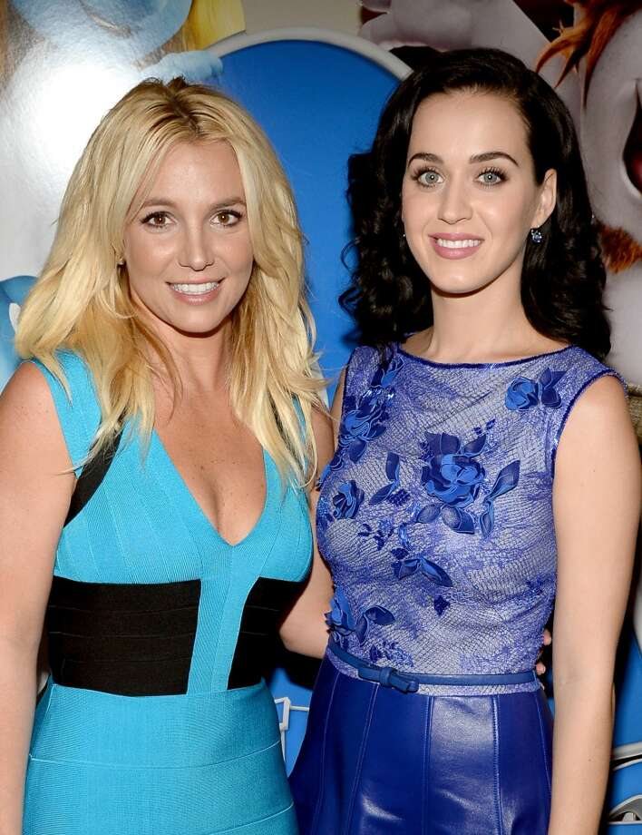 "Singer Britney Spears (L) and actress/singer Katy Perry attend the Los Angeles premiere of ""The Smurfs 2"" at Regency Village Theatre on July 28, 2013 in Westwood, California.  (Photo by Michael Buckner/Getty Images for SONY) Photo: Michael Buckner"