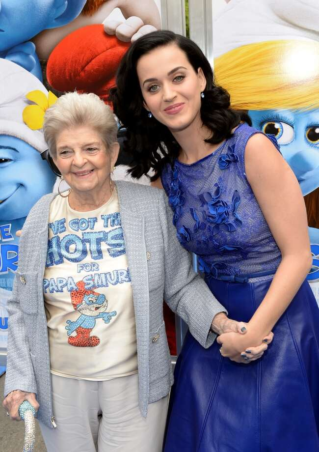 "Singer Katy Perry (R) and grandmother Ann Hudson attends the Los Angeles premiere of ""The Smurfs 2"" at Regency Village Theatre on July 28, 2013 in Westwood, California.  (Photo by Michael Buckner/Getty Images for SONY) Photo: Michael Buckner"