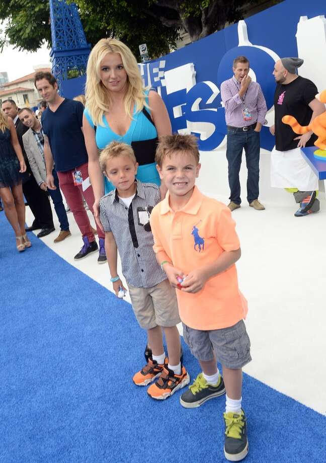 "Singer Britney Spears (C), sons Sean Federline and Jayden James Federline attend the Los Angeles premiere of ""The Smurfs 2"" at Regency Village Theatre on July 28, 2013 in Westwood, California.  (Photo by Michael Buckner/Getty Images for SONY) Photo: Michael Buckner"