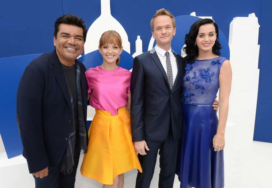 "(L-R) Actors George Lopez, Jayma Mays, Neil Patrick Harris and Katy Perry attend the Los Angeles premiere of ""The Smurfs 2"" at Regency Village Theatre on July 28, 2013 in Westwood, California.  (Photo by Michael Buckner/Getty Images for SONY) Photo: Michael Buckner"