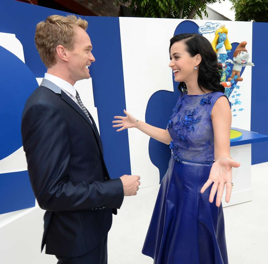 "Actor Neil Patrick Harris (L) and singer Katy Perry attend the Los Angeles premiere of ""The Smurfs 2"" at Regency Village Theatre on July 28, 2013 in Westwood, California.  (Photo by Michael Buckner/Getty Images for SONY) Photo: Michael Buckner"