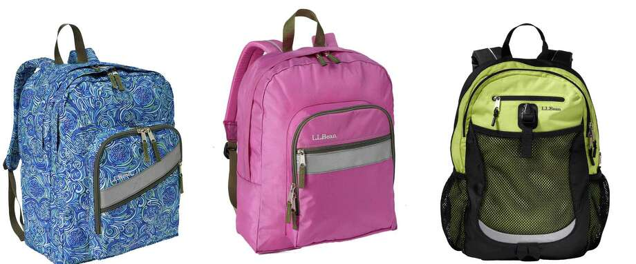 Backpacks at different price points, all from L.L. Bean: Deluxe Book Pack (from left) for children age 10 and older, $39.95; the Original Back Pack for children age 7 and older, $34.95; and the Sport Pack, for children age 9 and older, $49.95.
