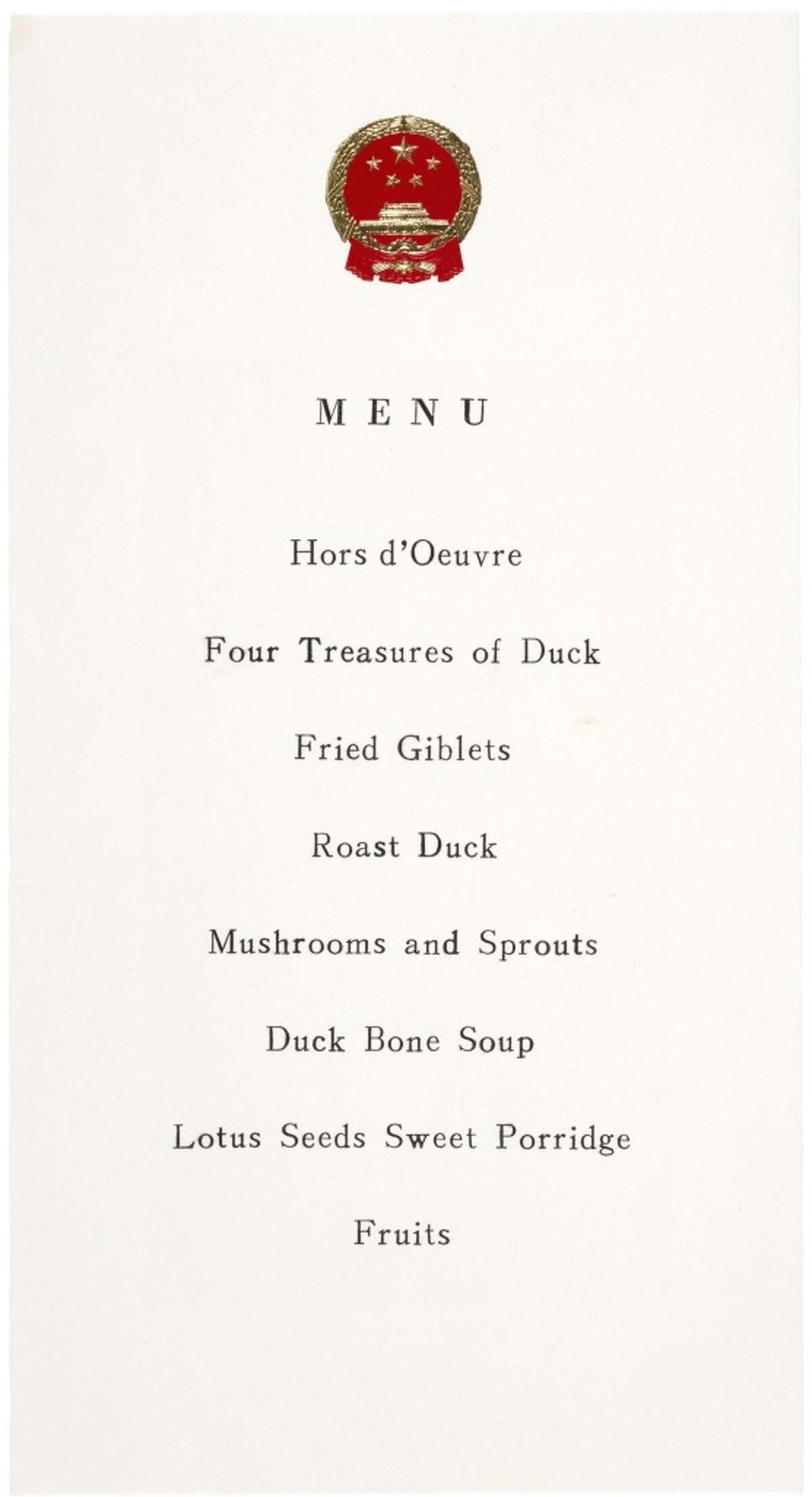 This dinner Menu from President Nixon's visit to China in 1972 inspired many to come to Chinatown looking for woks, the reason Chan first opened her store.