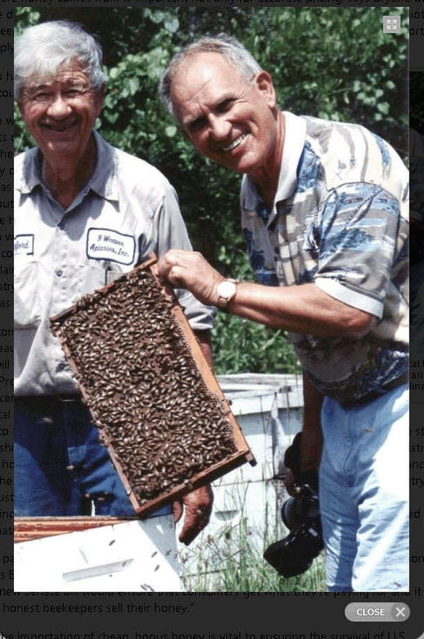 Vaughn Bryant, right, is an anthropology professor at Texas A&M University and melissopalynologist ¯ someone who studies the pollen in honey. He says most honey for sale has all the pollen filtered out, making its origin unclear. Photo: Texas A&M University