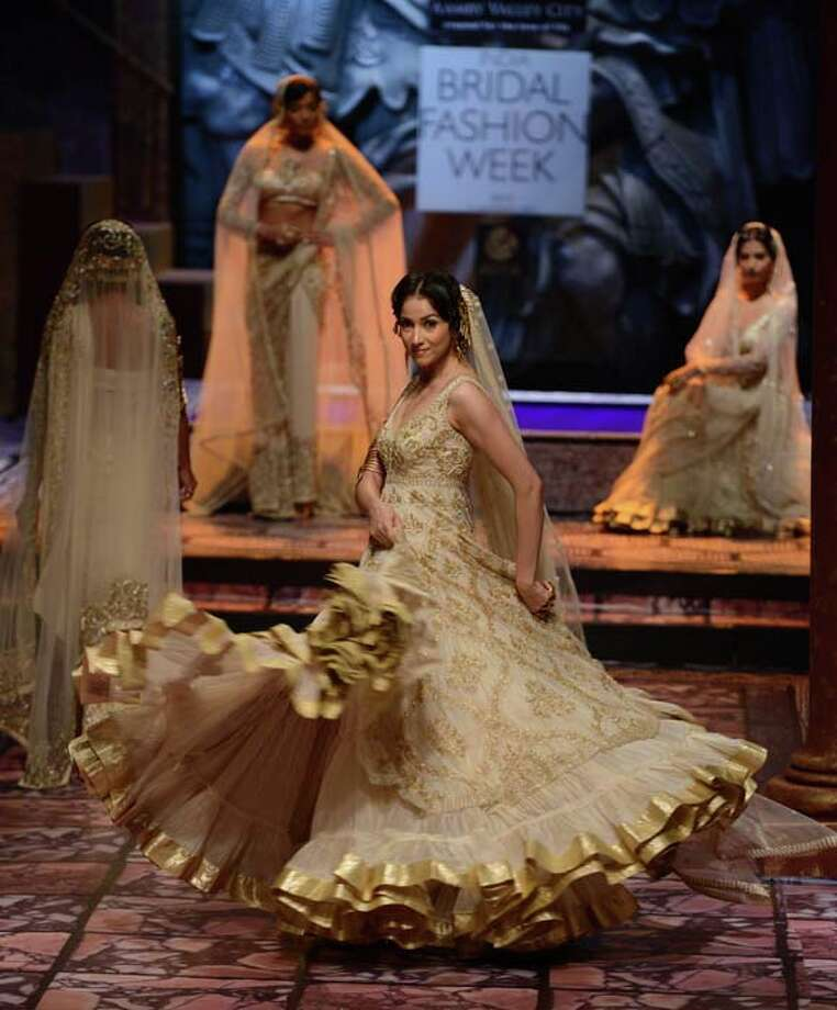 MUMBAI, INDIA  JULY 28: A modal walks the ramp for Suneet Verma at Aamby Valley India Bridal Fashion Week 2013.(Photo by Parveen Negi/ India Today Group/Getty Images) Photo: The India Today Group, India Today Group/Getty Images / Living Media India Limited