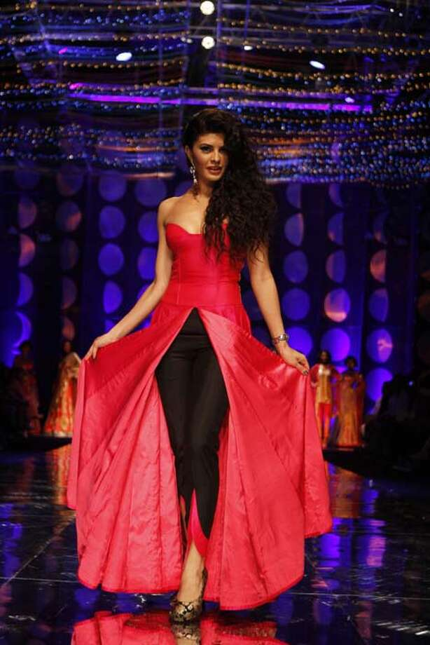NEW DELHI, INDIA - JULY 24: Bollywood actor Jacqueline Fernandez was showstopper for Jyotsna Tiwari during the Indian Bridal Fashion Week held at The Grand on July 24, 2013 in New Delhi, India. (Photo by Waseem Gashroo/Hindustan Times via Getty Images) Photo: Hindustan Times, Hindustan Times Via Getty Images / 2013 Hindustan Times