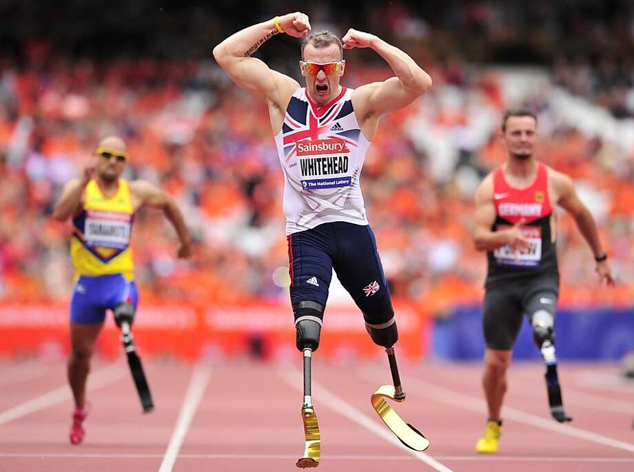 Two prostheses prove better than one in the men's T42 200-meter at the International Para Challenge in London. Double-amputee Richard Whitehead of Great Britain outraced his one-legged challengers. Photo: Glyn Kirk, AFP/Getty Images