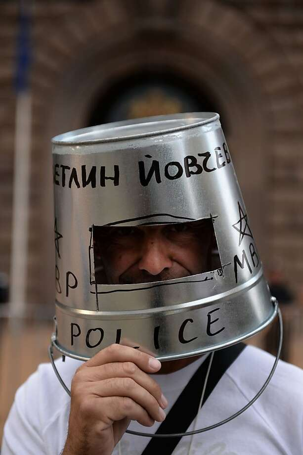 Are you feeling OK, sir? You're looking a little pail: A Bulgarian protester 