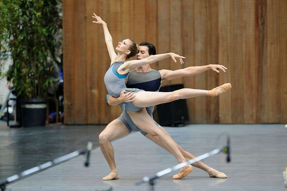 "Kristina Lind and Sean Orza perform in ""Stone and Steel"" during the S.F. Ballet's free show at Stern Grove. Photo: Erik Tomasson, SF Ballet"