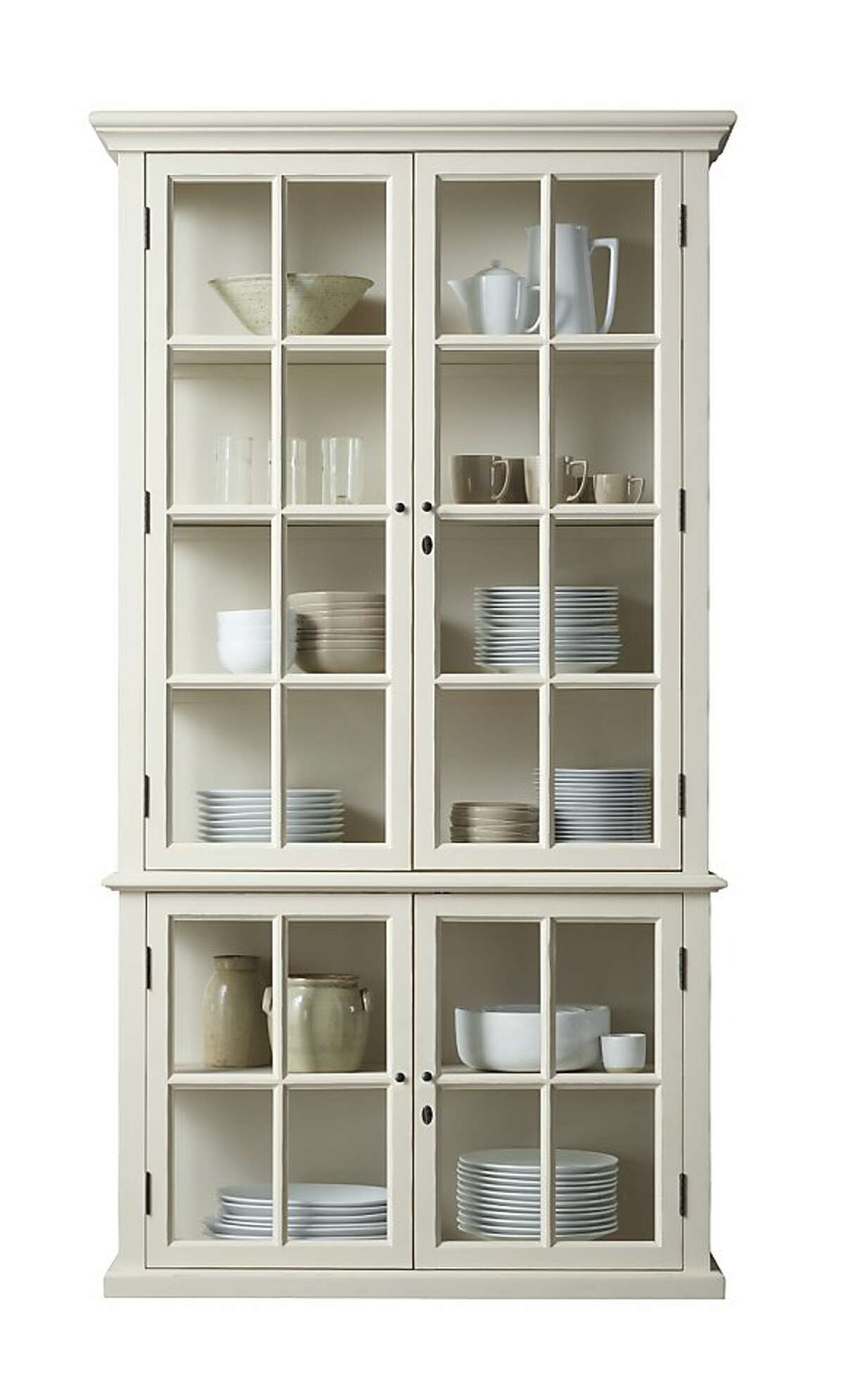 More: $1,595 to $1,795 Hampton Case Cabinet from Restoration Hardware (www.restorationhardware.com) With a sleek stature, gently distressed white finish and panes of tempered glass on three sides, this solid oak cabinet had us at hello. It measures 47 -inches wide, 16 inches deep with two choices in height: 77 inches (five shelves) and 91 inches (six shelves). Available in four other finishes.