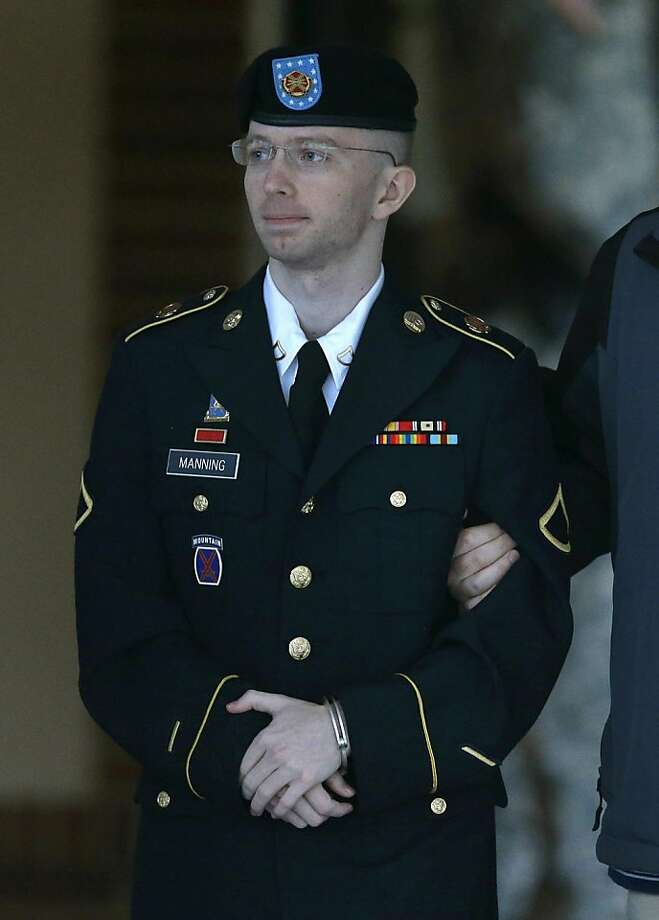 Pfc. Bradley Manning faces 21 counts, including aiding the enemy, over leaking documents. Photo: Patrick Semansky, Associated Press