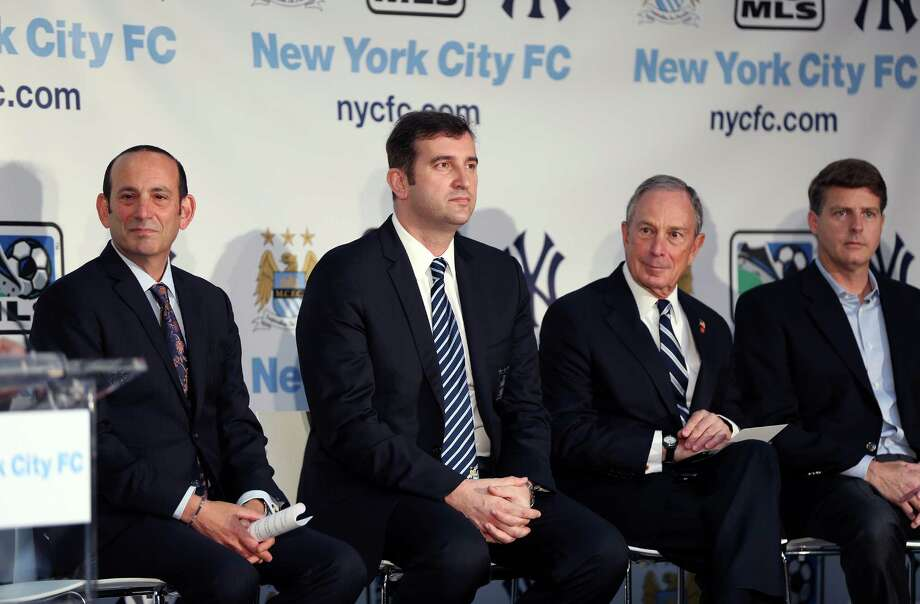 IMAGE DISTRIBUTED FOR MANCHESTER CITY FC - From Left, Don Garber, Ferran Soriano, CEO of Manchester City FC, and Mayor Bloomberg seen at a press conference launching a new football club, New York City FC, on Wednesday, May 22, 2013 in New York City, New York. Manchester City FC and baseball giants the New York Yankees are joining to found the new club. (Sharon Latham/Manchester City FC via AP Images) Photo: Sharon Latham / Manchester City FC