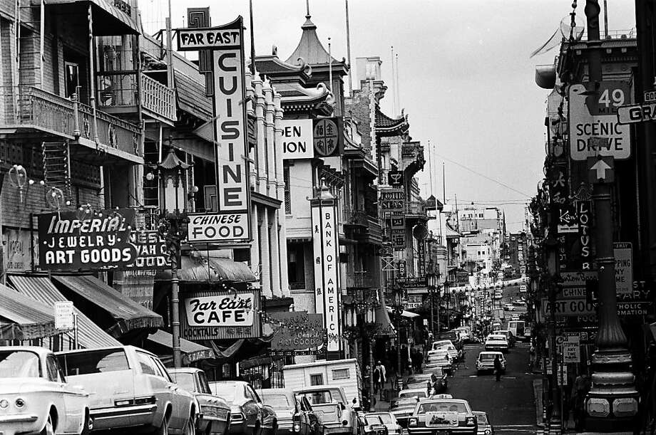 Chinatown in San Francisco, the largest outside of Asia, is a bustling neighborhood in in San Francisco in early summer, 1967. Photo: Michael Ochs Archives, Getty Images