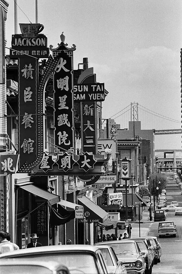 San Francisco's Chinatown, the largest outside of Asia, is a bustling neighborhood in early summer 1967. Photo: Michael Ochs Archives, Getty Images