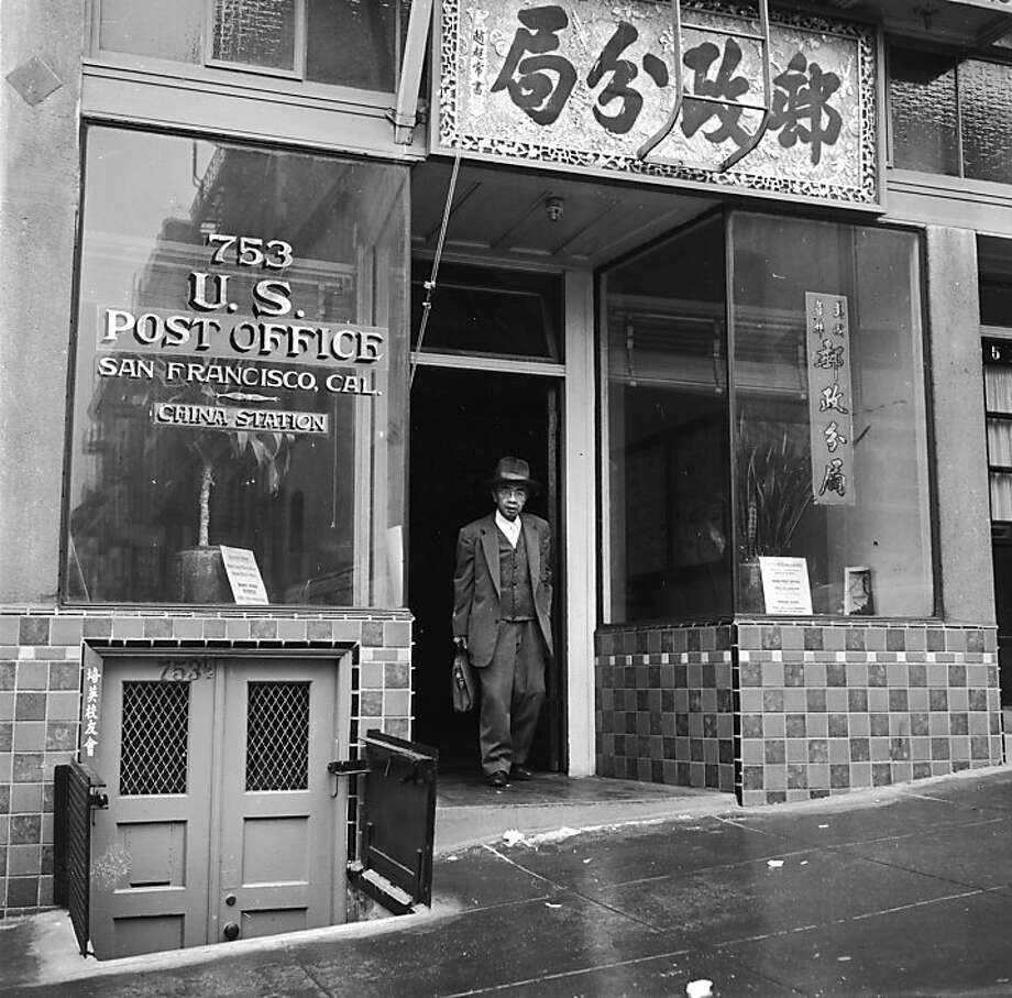 Circa 1955:  China Station, the US Post Office situated on Clay Street, Chinatown, San Francisco. Established in 1931, it employs five Chinese-speaking clerks and a superintendent, and serves the 25,000 residents of Chinatown. Photo: Orlando, Getty Images