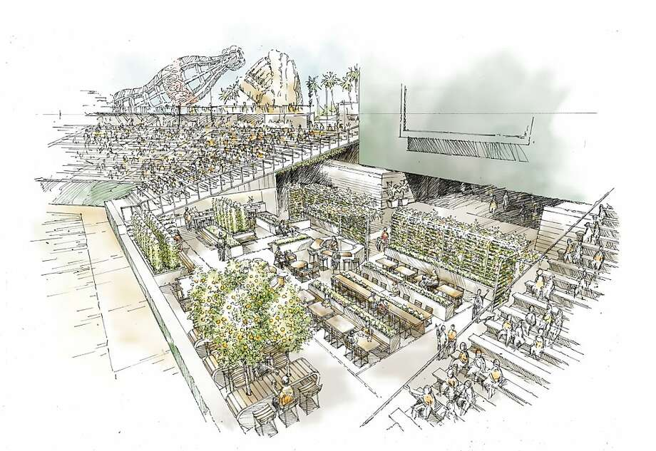 An artists' rendering of the Giants Garden, a 3,000-square-foot organic garden slated to open next season at AT&T Park.  Believed to be the first of its kind at an American sports venue, the edible garden will supply produce for some of the parks' concessions and serve as an open-air dining area and community classroom. Photo: EDG Design Group