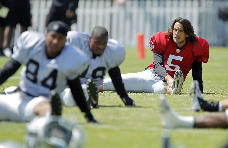 Punter Chris Kluwe (in red) is in camp with the Raiders after spending eight seasons with the Vikings. Photo: Carlos Avila Gonzalez, The Chronicle