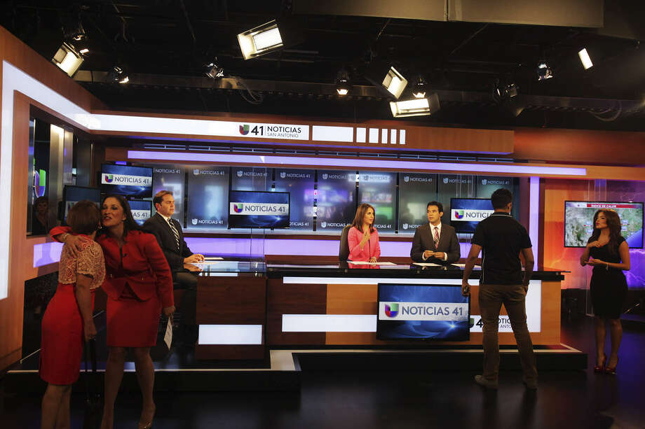 Anchors prepare for the first show at the new Univision studio on the Northwest Side. The 43,200- square-foot building on Network Boulevard, off De Zavala Road, cost more than $10 million, station and network officials said. Photo: Abbey Oldham / San Antonio Express-News