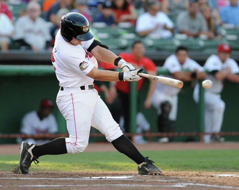 Tri-City ValleyCats catcher Brett Booth hits the ball during a game against the Connecticut Tigers on Monday, July 29, 2013 in Troy, N.Y. (Lori Van Buren / Times Union) Photo: Lori Van Buren / 00023292A